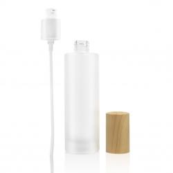GLACY-Flacon verre glacé 100 ml avec bouchon bambou